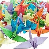 100 grullas de papel para origami, plegadas en 3D, color brillante, de Hangnuo, color Mezcla de colores. 100 Pieces