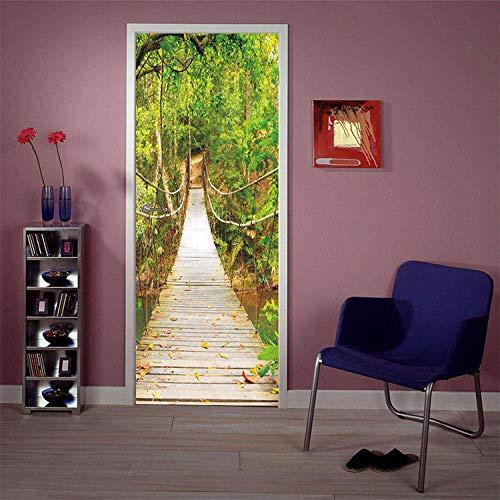 Creativo 3D Sling Bridge Door Paste Reacondicionado Papel Autoadhesivo Dormitorio Habitación Pasillo Secreto Off Etiqueta Decorativa Papel Tapiz Etiqueta Sart