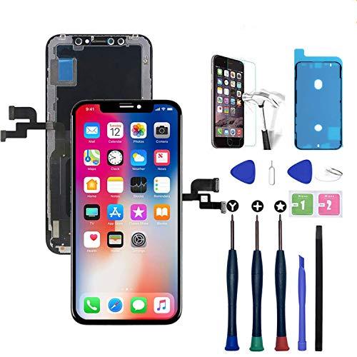 Xlhama Display OLED Schermo Compatibile per iPhone X Nero da 5,8 Pollici con Strumenti di Riparazione Lastra di Vetro Temperato