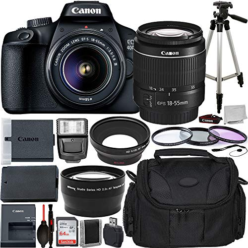 Canon EOS 4000D DSLR Camera with EF-S 18-55mm f/3.5-5.6 III Lens Advanced Bundle - Includes: Extended Life LPE10 Replacement Battery, 50' Aluminum Alloy Tripod & More
