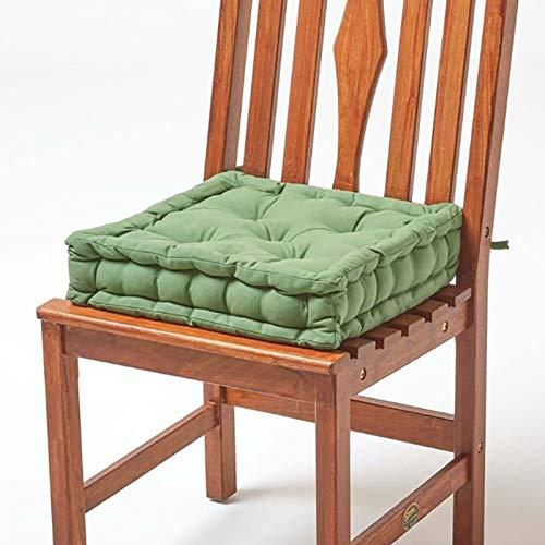 Homescapes gepolstertes Sitzkissen 40 x 40 cm, grün, 10 cm hohes Stuhlkissen mit Bändern, Stuhlpolster/Matratzenkissen für Stühle, Bezug aus 100% Baumwolle, waldgrün