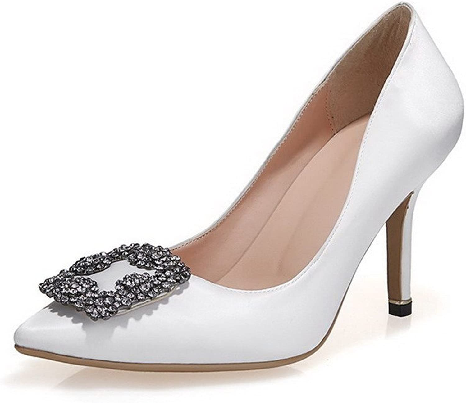 AmoonyFashion Women's Pull-On Pointed Closed Toe High Heels Solid Pumps-shoes