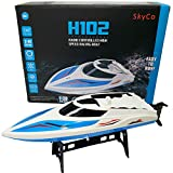 Remote Control Boats for Pools and Lakes SkyCo Rc Boat for Kids and Adults, Outdoor Adventure Pool Toys, High Speed Boat Toy for Boys and Girls BONUS EXTRA BATTERY (Blue)
