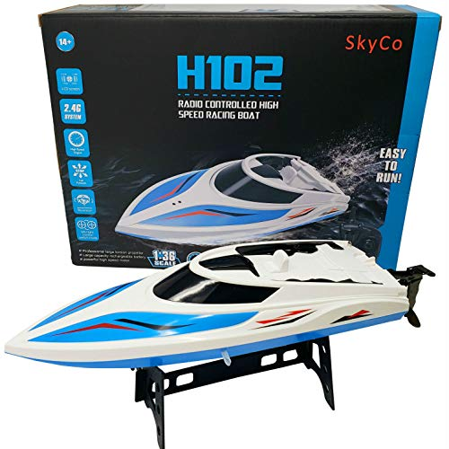 SkyCo Remote Control Boats for Pools and Lakes Rc Boat for Kids or Adults Outdoor Adventure Pool Toys High Speed Remote Control Boat Toy for Boys and Girls Bonus Extra Battery Blue