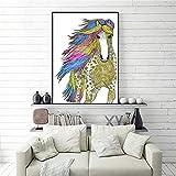 N / A Aquarell Pferd Leinwand Wandkunst Bild Malerei auf Leinwand für Home Küche Familiendekoration Rahmenlos 30x40CM