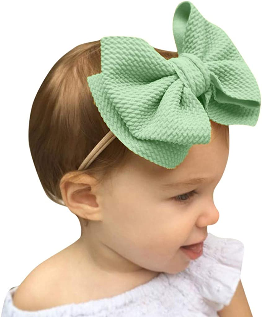 Amaone Newborn Headbands For Girls Cute Elastic Big Bow Baby Hair Band Solid Color Infants Headdress For Weddings Christening Photography Props Hair Accessories