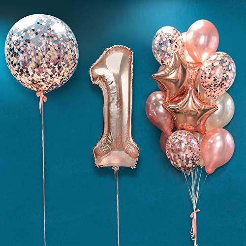 AcnA Decoración para Fiestas de Cumpleaños en Oro Rosa,Cumpleaños Globos 1 Años,1 Años Antigüedad Fiesta,Globos de Confeti,Látex Oro Rosa,Globo de Papel de Aluminio para Niñas y Mujeres Reutilizable