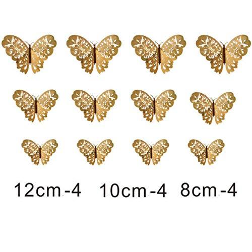 Unknow Growrak - 12 pegatinas de pared de mariposa 3D para decoración del hogar, color dorado