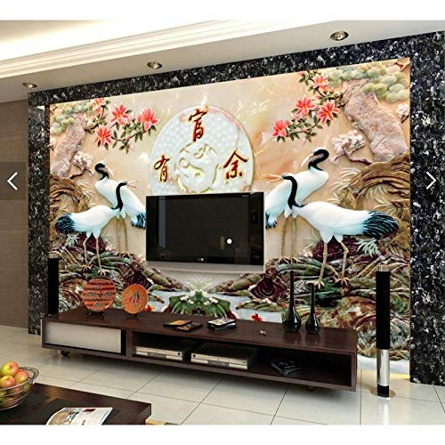 Tv Background Wall 3D Three-Dimensional Tile Mural Living Room Relief Art Wall Tile Microcrystalline Stone Carving Tile Chinese Crane-300210Cm