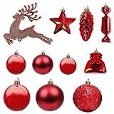 30 Pieza Adornos de Plástico de Bolas de Navidad Rojas Conjunto de Adornos De áRbol de Navidad Juego de Bolas de árbol de Navidad Bola de Decoración de áRbol De Navidad para Día Festivo Boda Fiesta