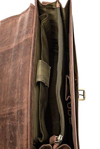 51bZt5QMHPL - LEABAGS Clearwater Bolso de Mensajero de auténtico Cuero búfalo en el Estilo Vintage - Muskat