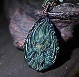Collar colgante de obsidiana Feng Shui Riqueza Collar Nueve Tailes Fox Dios que cura Chakra Talisman amuleto de piedra de cristal atraer el amor Dinero buena suerte de energía positiva,Beaded cord