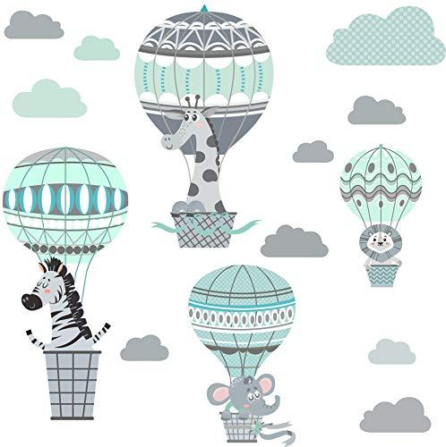 greenluup Wandsticker Wandtattoo Kinderzimmer Heißluftballon Mint Grau Tiere Wolken Waldtiere Kinderzimmer Babyzimmer Baby (C6)