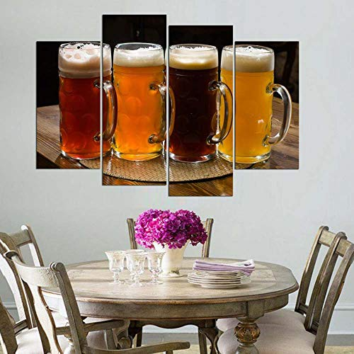 KOPASD Art Enlienzo Póster Cervezas de Muestra 4 Piezas Pared Mural para Decoracion Cuadros Modernos Salon Dormitorio Comedor Cuadro Impresión Piezasmaterial