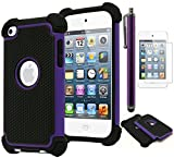 Bastex Hybrid Armor Case for Apple iPod Touch 4, 4th Generation - Purple+BlackINCLUDES Screen Protector and Stylus
