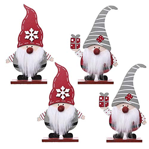 4 Pieces Christmas Gnome Wooden Table Decorations Happy Holidays Centerpiece Boutique for Christmas Home Office Party, 2 Types