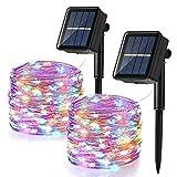 BrizLabs Cadena Luces Solares 2 Paquete 12m 120 LED Guirnalda Luces Solares Exterior Impermeable Iluminación Alambre de Cobre para DIY Navidad Jardín Ventana Valla Boda Decoración, Colores