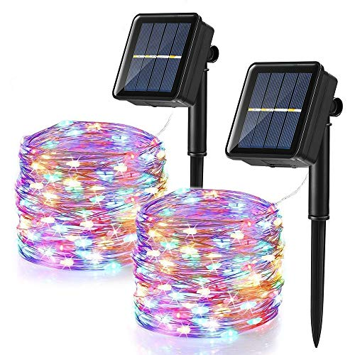 [2 Pezzi] Catena Luminosa Solare, BrizLabs 12m 120 LED Stringa Luci Natale Solari Impermeabile Luci Decorative da Interni e Esterni per Giardino Patio Albero Festa Halloween Matrimonio, Colorate