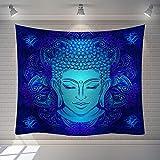 MWTWM Tapiz De Pared Tapestry Wall Hanging, Trippy Psicodélico Océano Azul Brillante Cabeza Buda Estatua Tapices De Pared, Decoración De Sala De Arte Tejido Estampado para Dormitorio Salón