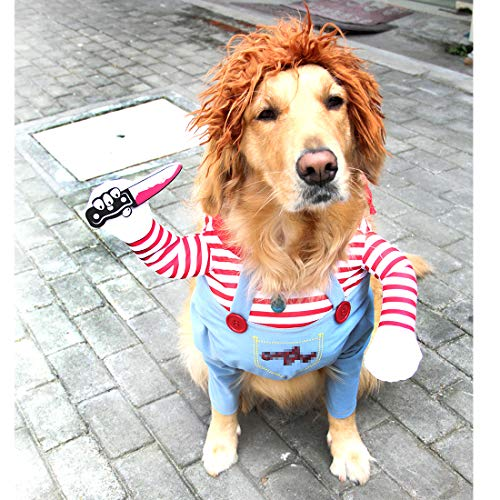 TVMALL Dodelijke pop Hond Kleding Huisdieren Kostuum Halloween Cosplay voor kleine Hond Kostuums Plus Hoed Grappige Hond feestkleding Kerstmis kostuum, L