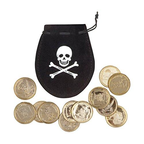 Boland 74300 - Piratenbeutel mit 12 Goldmünzen, schwarz, Totenkopf, Länge ca. 10 cm, Kordelzug, Pirat, Mittelalter, Edelmann, Karneval, Halloween, Fasching, Mottoparty, Verkleidung, Theater