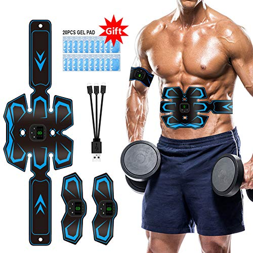 Electroestimulador Muscular Abdominales EMS stimulador Abdominales USB 3 in 1Recargable Estimulación Muscular Masajeador Eléctrico 20 Pcs Parches de Gel Reemplazables…
