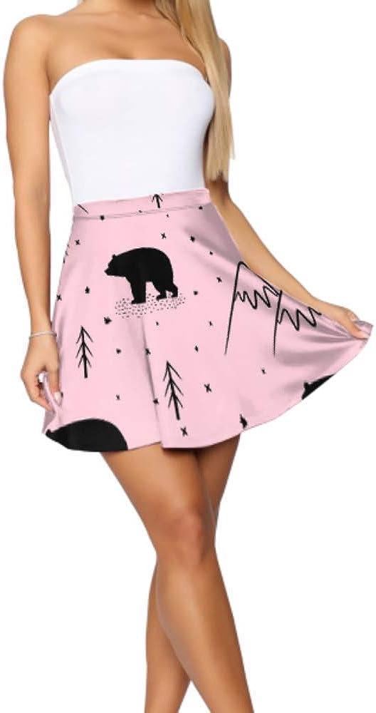 Liaosax Mini Skirt for Teen Girls Beautiful Natural Mountain Range Mini Skirts for Teens Women's Basic Casual Flared Skirt S-XL