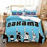YOMOCO Juego de ropa de cama de One Piece – Funda nórdica y dos fundas de almohada, microfibra, impresión digital 3D, ropa de cama de tres piezas (14, AU Single 140 x 210 cm)