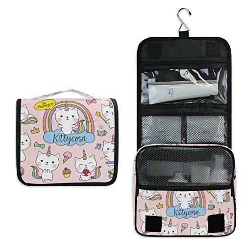 Hanging Travel Toiletry Bag Kit Makeup Case Cosmetics Organizer for Men Women (unicorn cat)