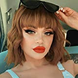 AISI HAIR Short Bob Cut Wavy Weave Hair Wig And Bangs Wavy Bob Natural Hair Products Middle Part Synthetic Heat Resistant Fiber Hair Wigs for Daily Use (Color: R4/30/27#)