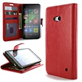 CoverON for Microsoft Lumia 640 Wallet Case [Carryall Executive Series] Synthetic Leather Flip Credit Card Phone Cover Pouch - Red - & Clear LCD Screen Protector