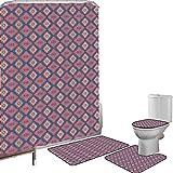 Juego de cortinas baño Accesorios baño alfombras Geométrico Alfombrilla baño Alfombra contorno Cubierta del inodoro Azulejo de estilo retro étnico Efecto de ilusión óptica Diseño gráfico abstracto Dec