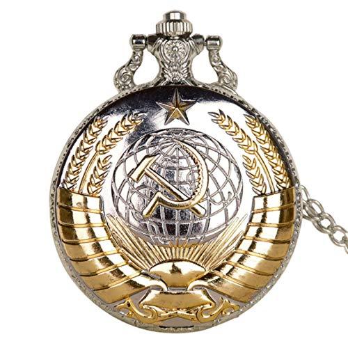 ZMKW Distintivi sovietici Orologio da Tasca a Martello Orologio da Taschino al Quarzo dell'Esercito Russo retrò Collana con Catena dell'orologio per Uomo Donna, Argento Dorato