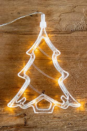 LED Fensterbild/Fenstersilhouette Tannenbaum mit 10 warmweissen LEDs SAUGNAPF Weihnachten Hänger Fensterschmuck Led-Beleuchtung Weihnachtsbeleuchtung