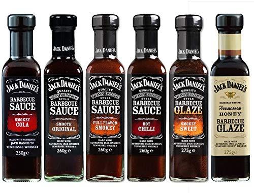 Probierpaket - Jack Daniel's BBQ Grillsaucen bestehend aus 6 Flaschen im Set, Smokey, Cola NEU, Hot Chilli, Full Flavor Smokey, Smooth Original, Tennessee Honey Glaze und Smokey Sweet