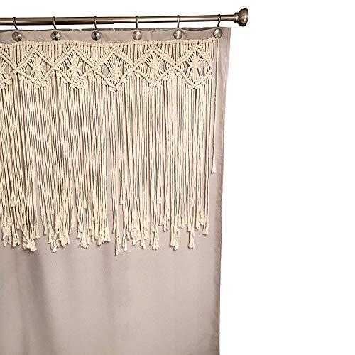 Duschvorhang, gewebt, Makramee, Leinen, Boho-Dekor, Beige, 177,8 x 177,8 cm