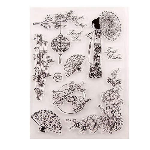 Chinesischer japanischer Stil Frauen Blumen Fan Laterne Clear Stamps Clear Stamps Scrapbook Foto Deko Karten machen Clear Stempel