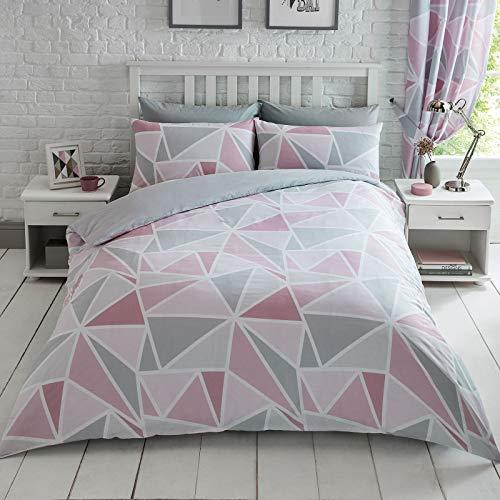 Price Right Home Ensemble Housse de Couette Metro Geometric Triangle Single - Rose/Gris