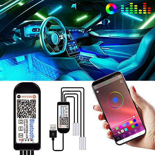 caricabatteria da Auto Incluso Striscia di luci a LED per Auto Kit di Illuminazione per Interni Multi Colore con Funzione Sonora Attiva e Telecomando Senza Fili