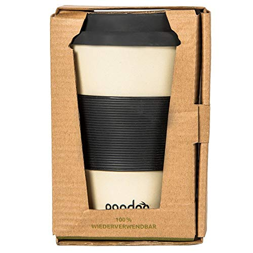 Pandoo Bamboe Coffee-to-go beker - koffiebeker, drinkbeker, bamboe cup | herbruikbaar & recyclebaar & voedselveilig, vaatwasmachinebestendig
