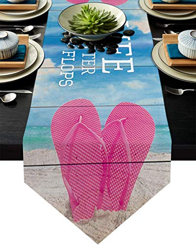 COMMER Camino de mesa, acuarela azul cielo madera tabla de aparador bufandas decoración de mesa para fiesta de boda/ceremonia/banquete (33 x 228 cm)