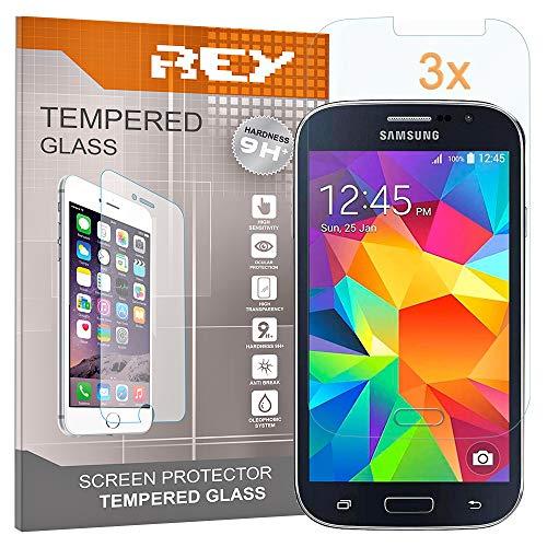 REY Pack 3X Pellicola salvaschermo per Samsung Galaxy Grand Neo Plus, Pellicole salvaschermo Vetro Temperato 9H+, di qualità Premium