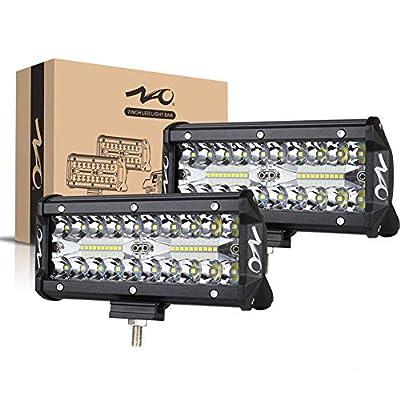 7inch LED Light Bar, 240W 24,000LM Offroad Fog Light Driving Lights LED Pods with Spot Flood Combo Beam, Waterproof Led Work Lights for UTV ATV Jeep Truck Boat, 2 Pack
