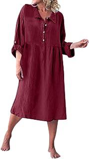 TLTL Women Loose Style Linen Basic Long Sleeve Shirt Collar Buttoned Dresses