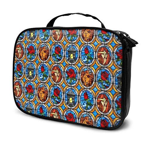 Bella y Bestia bolsa de cosméticos de cristal de cuento de hadas, tamaño grande, multifuncional, neceser de viaje, organizador de cosméticos, regalos para mujeres