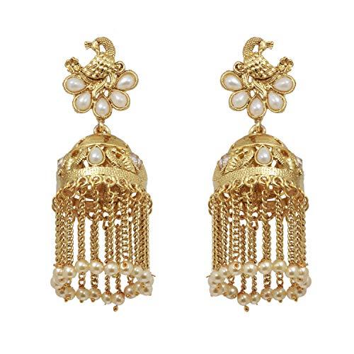 SANARA Indian Bollywood Gold Plated Peacock Style Jhumki Golden Chain Pearl Polki Earring Women Wedding Fashion Jewelry (Pearl)