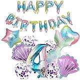 Decoración de cumpleaños con forma de cola de sirena, globo para 4 años, decoración de cumpleaños para niñas con temática de sirena, con pancarta 'Happy Birthday'