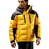 Fuerza Mens Winter Down Wellon Hooded Heavy Duty Parka Jacket (Large, Yellow)