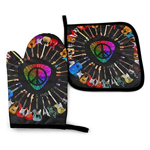 Ofenhandschuhe und Topflappen, Set, Peace-Symbol, Gitarre, bunt, hitzebeständig, Mikrowellen-Handschuhe zum Grillen, Kochen, Backen