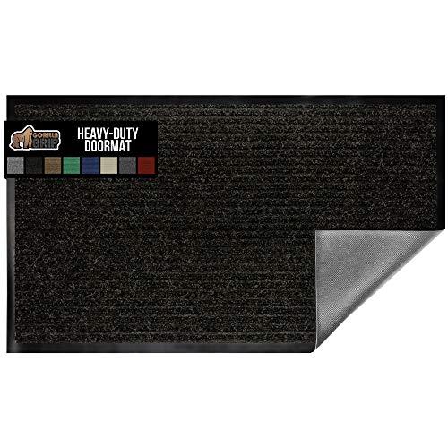 Gorilla Grip Original - Tapete de goma de perfil bajo, resistente, duradero, impermeable, fácil de limpiar, para interior y exterior, para entrada, patio, zonas de alto tráfico, Moderno, Negro, 35' x 23', 1